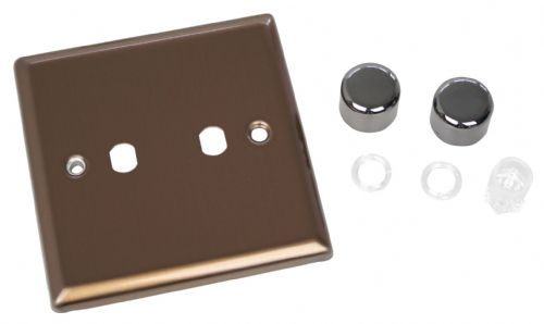 Varilight WY2.BZ Urban Brushed Bronze 2 Gang Dimmer Plate Only + Dimmer Knobs
